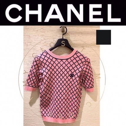 CHANEL MATELASSE Crew Neck Short Street Style Plain Cotton Short Sleeves