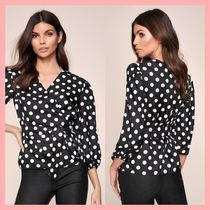 Lipsy Dots Puffed Sleeves Cropped Medium Party Style