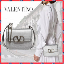 VALENTINO Calfskin Chain Plain Leather Party Style Elegant Style