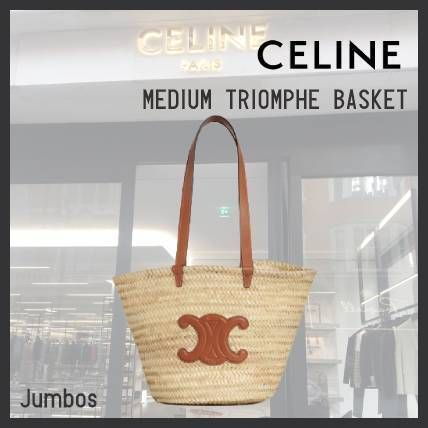 CELINE Straw Bags Medium Triomphe Celine Classic Panier In Raffia And Calfskin