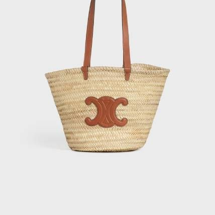 CELINE Straw Bags Medium Triomphe Celine Classic Panier In Raffia And Calfskin 2