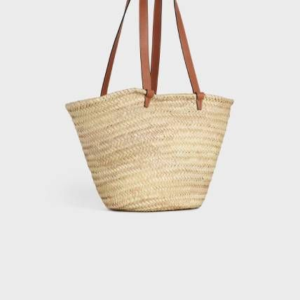 CELINE Straw Bags Medium Triomphe Celine Classic Panier In Raffia And Calfskin 3