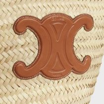 CELINE Straw Bags Medium Triomphe Celine Classic Panier In Raffia And Calfskin 6