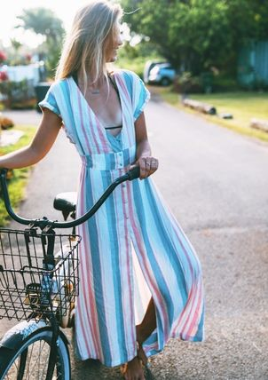 Wrap Dresses Stripes Tropical Patterns Casual Style Maxi