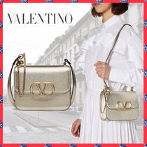 VALENTINO Chain Plain Leather Party Style Elegant Style Crossbody