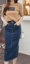 Pencil Skirts Casual Style Denim Plain Medium Midi Skirts