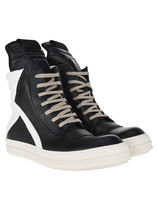 RICK OWENS Blended Fabrics Street Style Bi-color Plain Leather Sneakers
