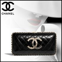 CHANEL Lambskin Party Style Elegant Style Party Bags