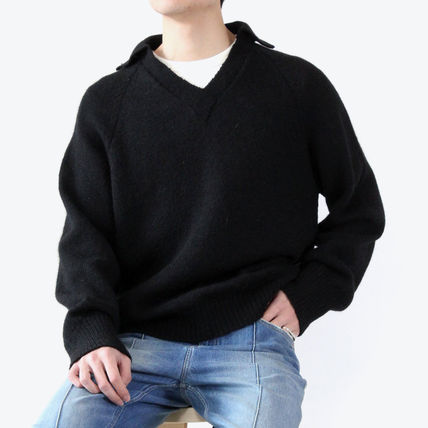 Pullovers Wool V-Neck Long Sleeves Plain Sweaters