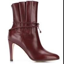 GUCCI Wedge Plain Leather Logo Wedge Boots