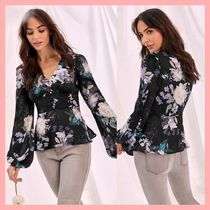 Lipsy Flower Patterns Long Sleeves Medium Party Style Puff Sleeves
