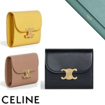 CELINE Flap Small Triomphe Wallet In Shiny Smooth Lambskin