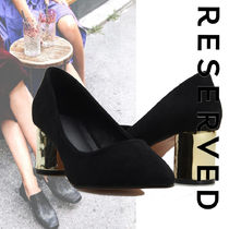 RESERVED Casual Style Suede Plain Block Heels Party Style