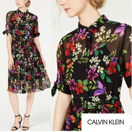 Flower Patterns A-line Chiffon Flared Short Sleeves