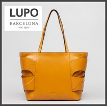 Lupo Barcelona Casual Style Unisex A4 Plain Leather Office Style