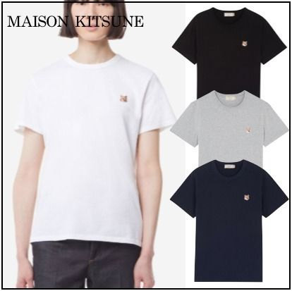 MAISON KITSUNE More T-Shirts U-Neck Plain Cotton Short Sleeves Logo Designers T-Shirts