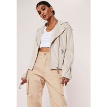 Missguided Short Casual Style Faux Fur Biker Jackets