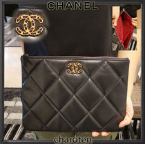 CHANEL ICON Unisex Bag in Bag 2WAY Bi-color Chain Plain Leather Clutches