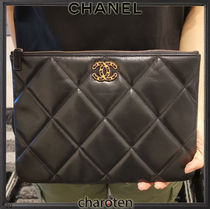 CHANEL ICON Unisex Bag in Bag 2WAY Bi-color Chain Plain Leather Bridal