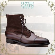 Edward Green Straight Tip Suede Blended Fabrics Plain Leather Boots