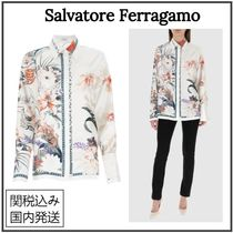 Salvatore Ferragamo Flower Patterns Casual Style Silk Long Sleeves Party Style