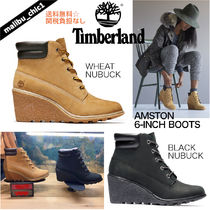 Timberland Plain Toe Lace-up Casual Style Plain Leather Lace-up Boots