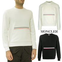 MONCLER Crew Neck Long Sleeves Plain Cotton Logos on the Sleeves