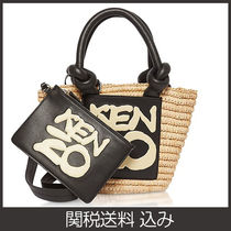 KENZO 2WAY Plain Crossbody Logo Straw Bags