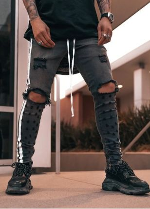 Stripes Denim Street Style Plain Skinny Jeans