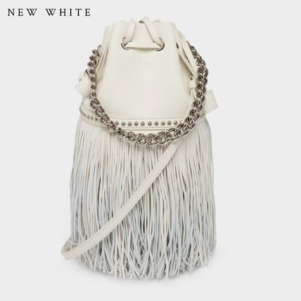 Casual Style Calfskin Blended Fabrics Studded 3WAY Chain