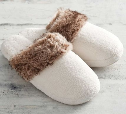 Faux Fur Plain Elegant Style Slippers Shoes