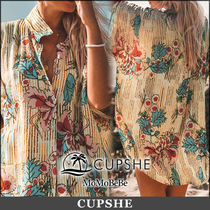 CUPSHE Stripes Flower Patterns Casual Style Long Short Sleeves