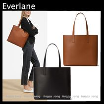 Everlane Casual Style Unisex A4 Plain Leather Office Style