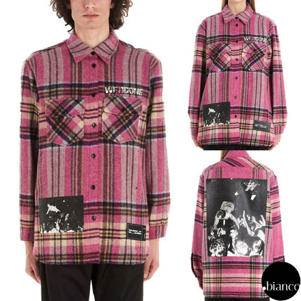 Other Plaid Patterns Unisex Wool Street Style Long Sleeves