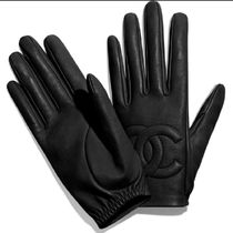 CHANEL Unisex Plain Leather Logo Leather & Faux Leather Gloves