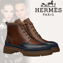 HERMES Plain Toe Street Style Bi-color Plain Leather Engineer Boots