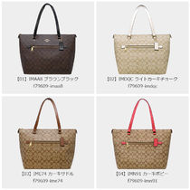 Coach SIGNATURE A4 Leather Office Style Logo Totes