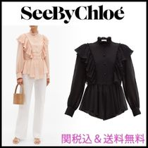 See by Chloe Casual Style Peplum Long Sleeves Plain Party Style