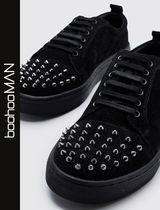 boohoo Faux Fur Studded Street Style Sneakers