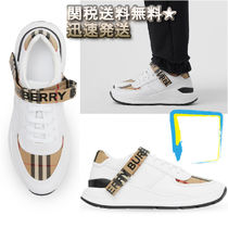 Burberry Other Check Patterns Street Style Plain Leather Sneakers