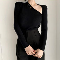 Cable Knit Casual Style Peplum Rib V-Neck Long Sleeves Plain