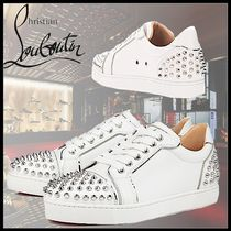 Christian Louboutin Rubber Sole Casual Style Studded Street Style Plain Leather