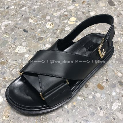 Open Toe Rubber Sole Plain Leather Footbed Sandals