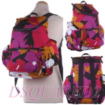D SQUARED2 Flower Patterns Casual Style Nylon Backpacks
