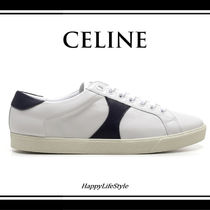 CELINE Triomphe Bi-color Plain Leather Logo Sneakers