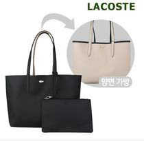 LACOSTE Casual Style A4 Plain PVC Clothing Office Style