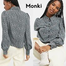 MONKI Flower Patterns Casual Style Street Style Long Sleeves