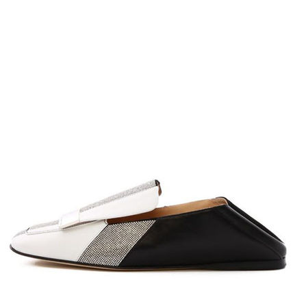 Stripes Square Toe Bi-color Leather Slip-On Shoes