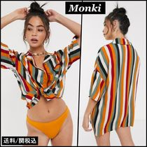 MONKI Stripes Casual Style Short Sleeves Shirts & Blouses