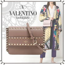 VALENTINO Casual Style Calfskin Studded Plain Leather Party Style